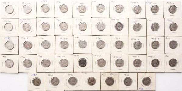 Lot of 46: Jefferson Nickels & 1 V Nickel.