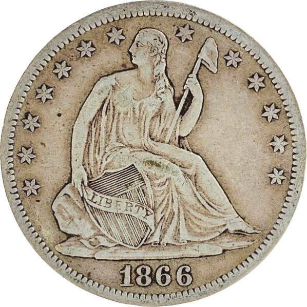 1866 S Seated Liberty Half Dollar.
