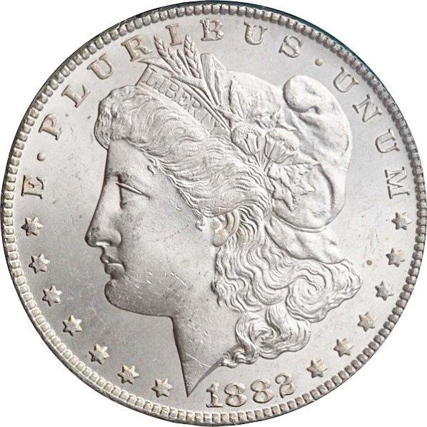 1882-CC Morgan Silver Dollar MS 63.