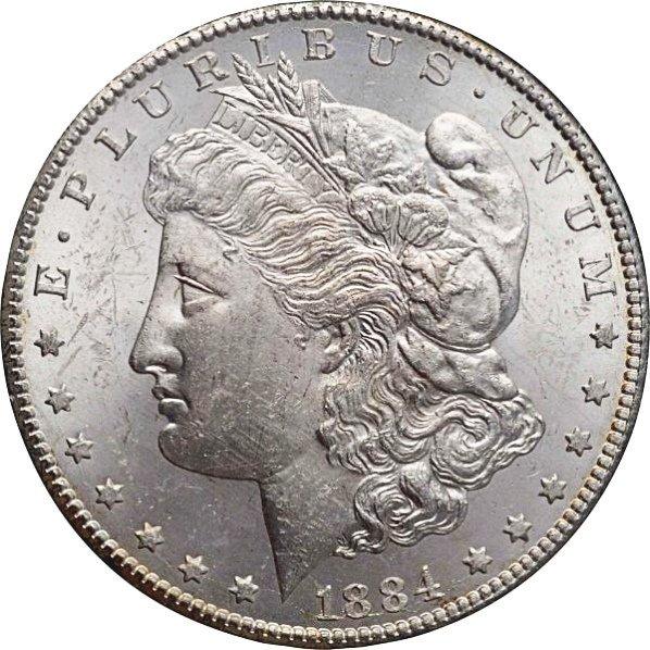 1884-CC Morgan Silver Dollar MS 63.