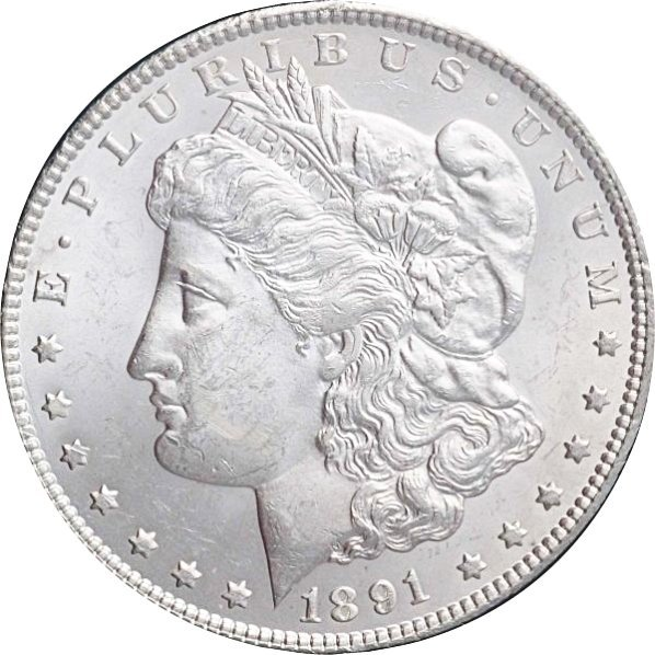1891-CC Morgan Silver Dollar MS 63.