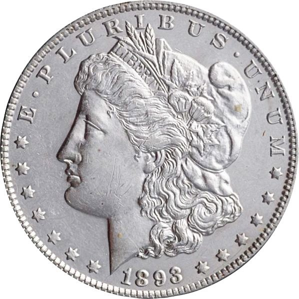 1893 Morgan Silver Dollar AU+.