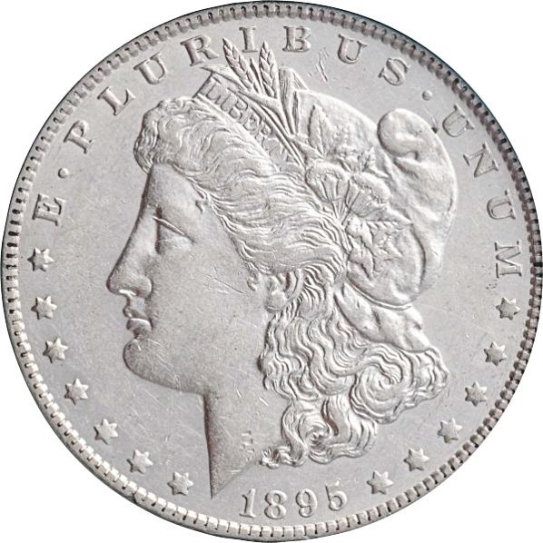 1895-O Morgan Silver Dollar XF+.