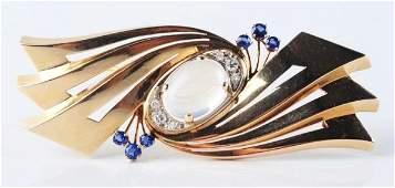 Tiffany  Co 14K Gold Retro Brooch