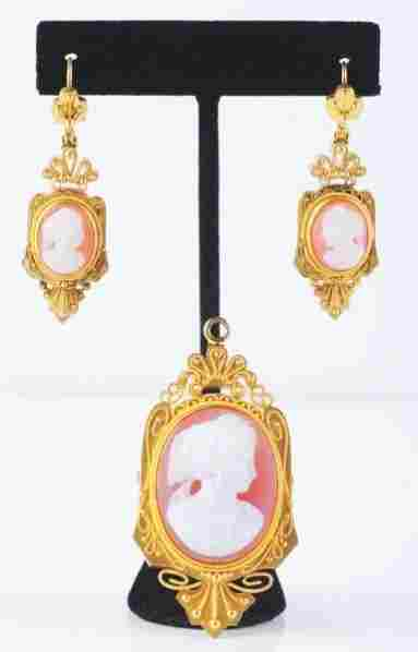 14K Yellow Gold Victorian Cameo Brooch & Earrings