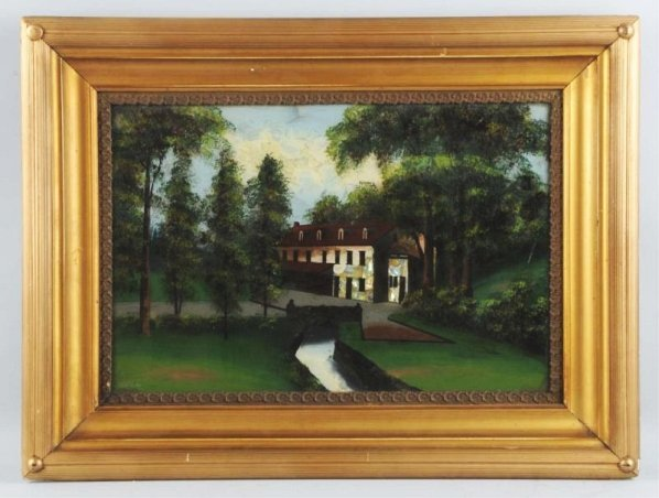 Reverse Glass House by Trees Painting.