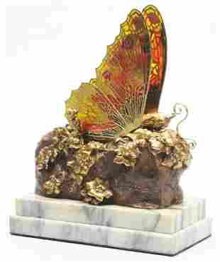 Metamorphic Brass & Marble Butterfly.
