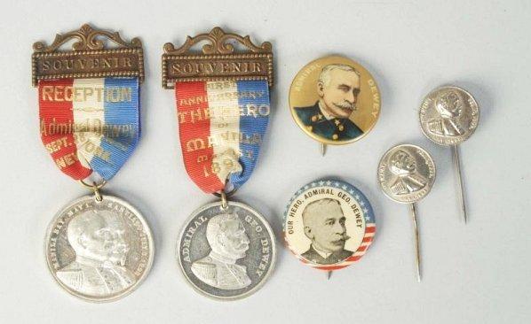 Lot of 6: Admiral Dewey Pins & Medallions.