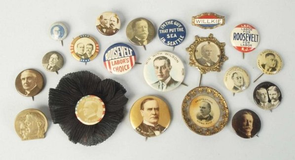 Lot of 20: Assorted 20th Century Pinback Buttons.