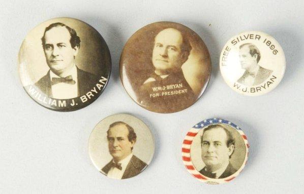 Lot of 5: William Jennings Bryan Pinback Buttons.