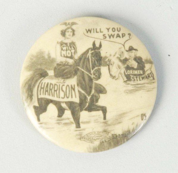 Large William Henry Harrison Pinback Button.