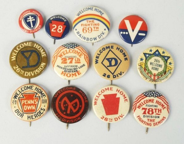 Lot of 12: WWII Welcome Home Pinback Buttons.
