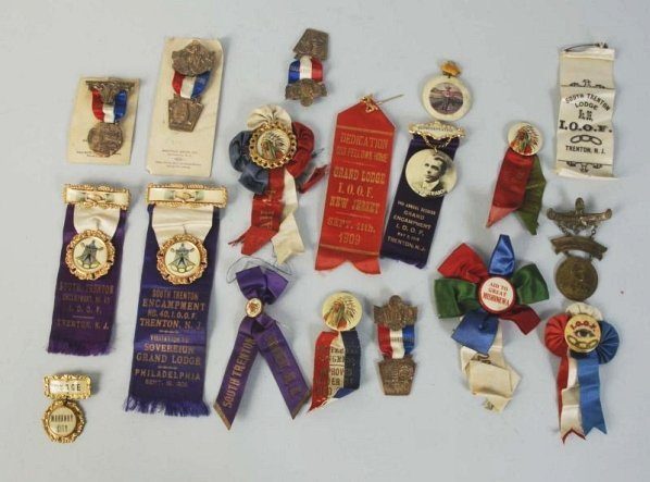 Lot of Assorted Fraternal Pins & Ribbons.