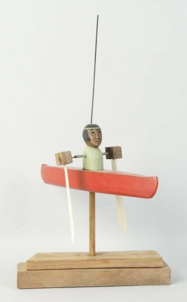 Wooden Indian in Boat Whirleygig.