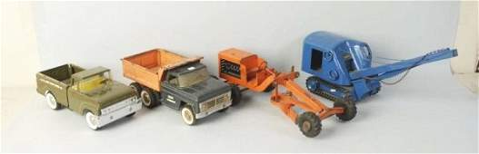 Lot of 4 Pressed Steel Structo Vehicles