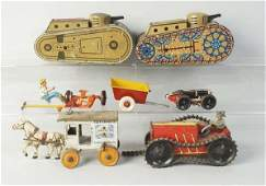 Lot of 6 Tin Litho WindUp Vehicle Marx Toys