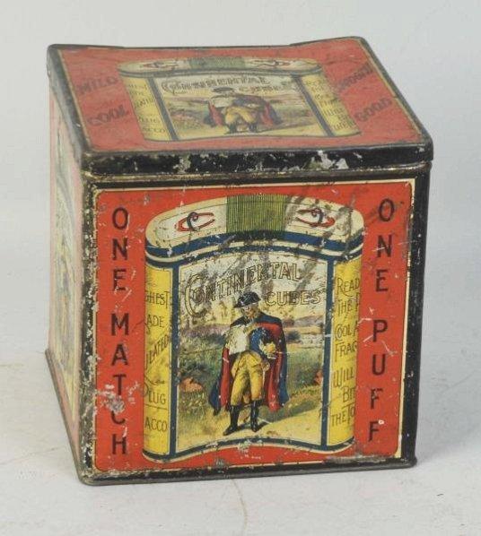 Rare Continental Cubes Countertop Tobacco Tin.