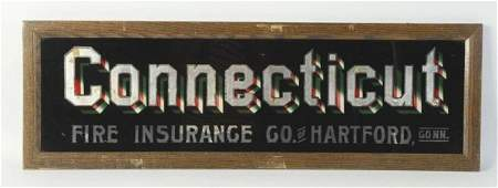 Reverse Glass Connecticut Fire Insurance Sign