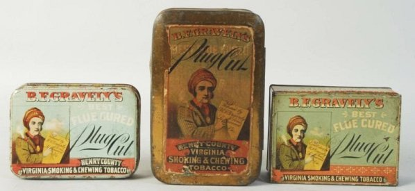Lot of 3: B. F. Gravely Tobacco Tins.