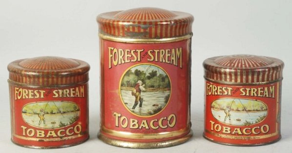 Lot of 3: Forest and Stream Tobacco Tins.