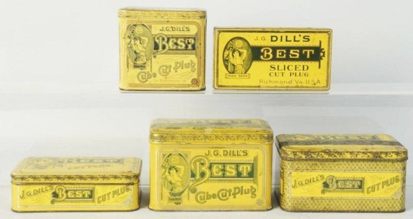 Lot of 5: Dill's Tobacco Tins.