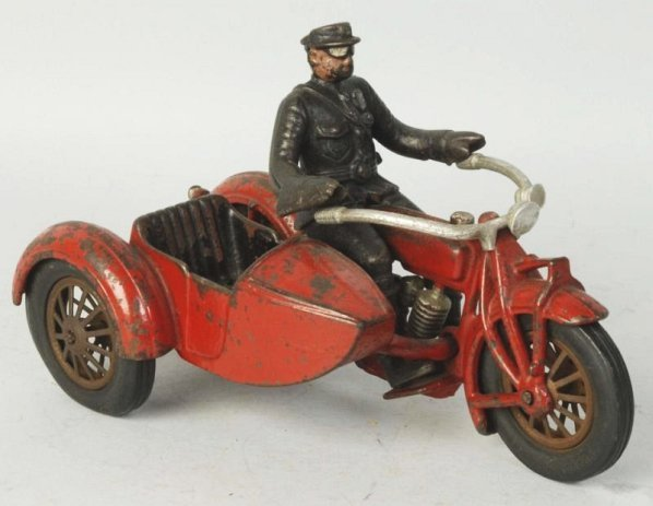 Cast iron Motorcycle with Side Car.