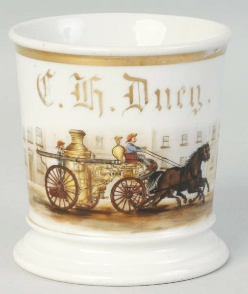 Horse Drawn Fire Pumper Shaving Mug.