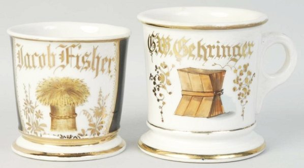 Lot of 2: Wheat Shaving Mugs.
