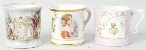 Lot of 3 Female Portrait Shaving Mugs