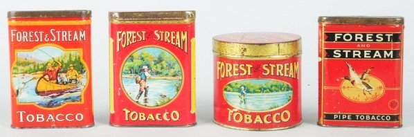 Lot of 4: Forest & Stream Tobacco Tins.