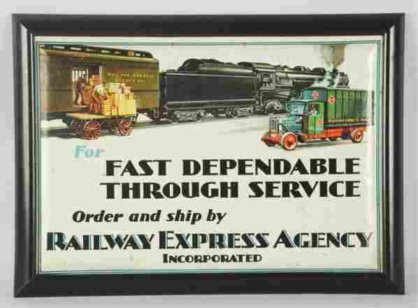 1920s-30s Tin Railway Express Agency Sign.