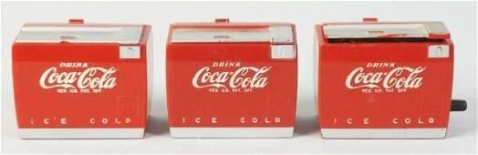 Lot of 3: 1950s Coca-Cola Miniature Coolers.