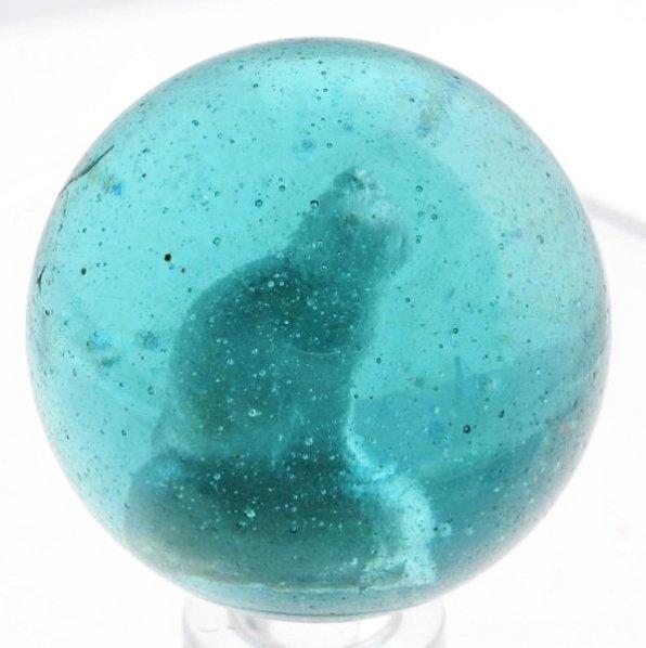 Aqua Glass Cat Sulphide Marble.