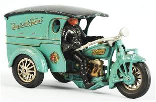 Rare Large Cast Iron Hubley Motorcycle Toy.