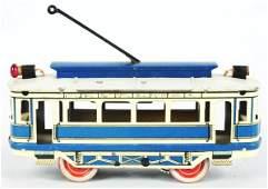 German Orobr Tin Litho Windup Trolley Toy