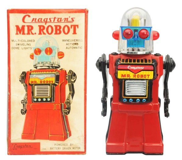 Tin Litho & Painted Battery Op. Mr. Robot.