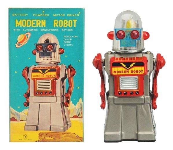 Tin Litho & Painted Battery Op. Modern Robot.