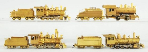 Lot of 4: Brass HO Train Engine & Tender Combos.