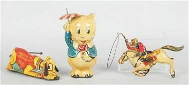 Lot of 3 Marx Tin Windup Character Toys