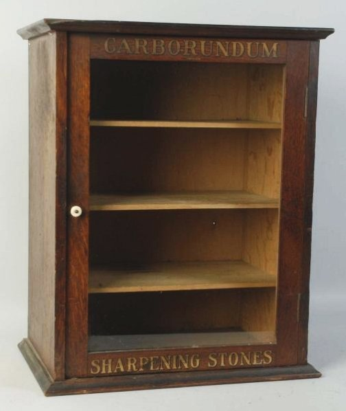 Early Carborundum Sharpening Stone Display Case.
