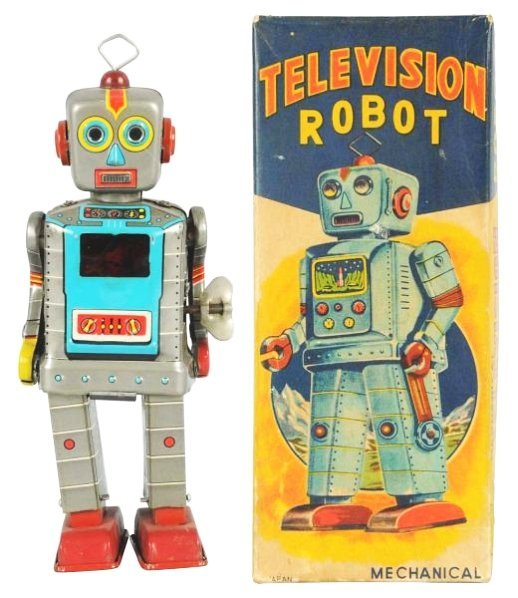 Tin Litho Wind-up Television Robot.