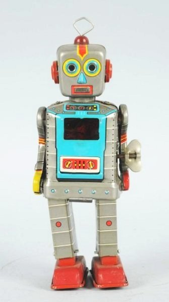 Tin Litho Wind-up Television Robot. - 2
