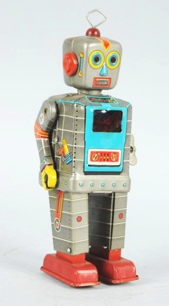 Tin Litho Wind-up Television Robot. - 3