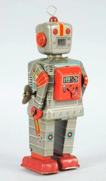 Tin Litho Wind-up Television Robot. - 4