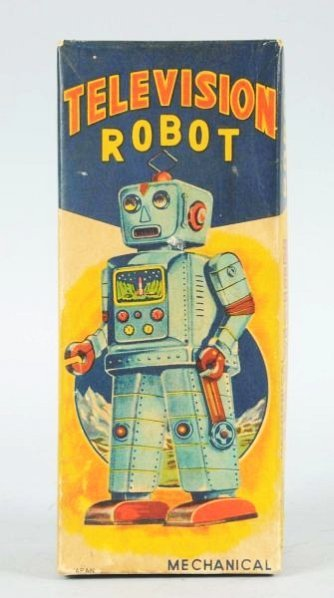 Tin Litho Wind-up Television Robot. - 5