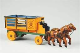 Marx Tin Litho Wind-up Merchants Transfer Wagon.