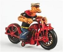 Hubley Cast Iron Popeye Patrol Cycle.