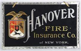 Hanover Fire Insurance Co Reverse on Glass Sign