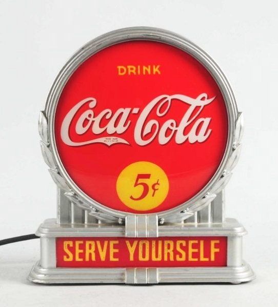 1930s Coca-Cola Brunhoff Lighted Counter Sign.