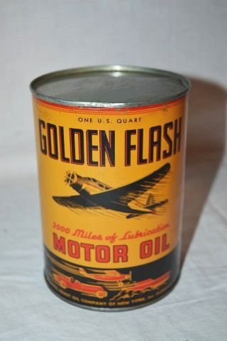 Golden Flash Motor Oil Quart Can.
